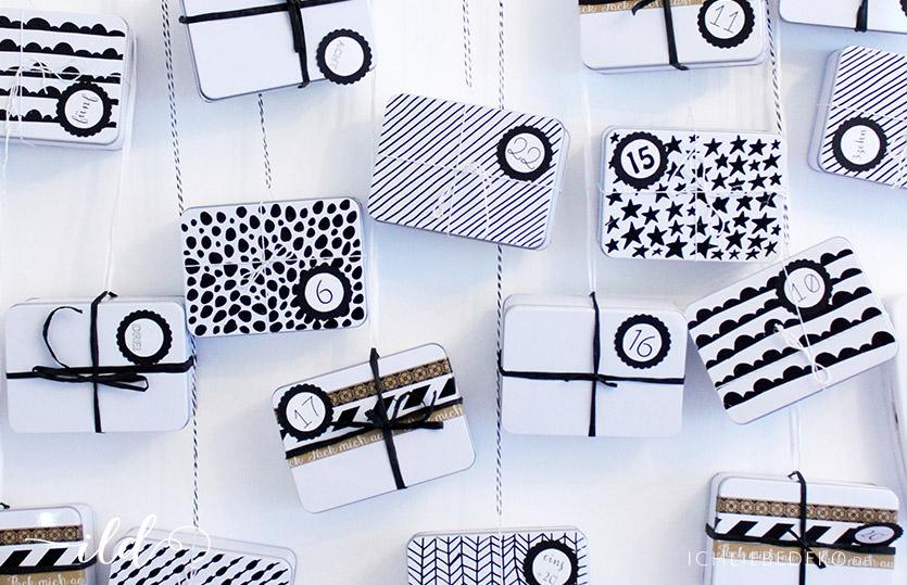 adventskalender aus blechdosen ich liebe deko. Black Bedroom Furniture Sets. Home Design Ideas