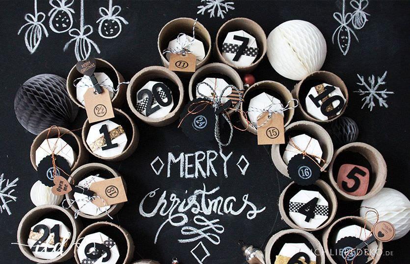 Weihnachtskalender Aus Klopapierrollen.Diy Adventskalender Aus Papprohren Pappbechern Ich Liebe Deko