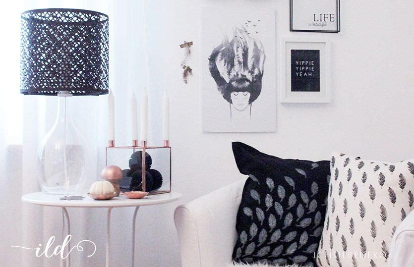 herbstdeko in kupfer schwarz und ein kissen mit diy federprint ich liebe deko. Black Bedroom Furniture Sets. Home Design Ideas