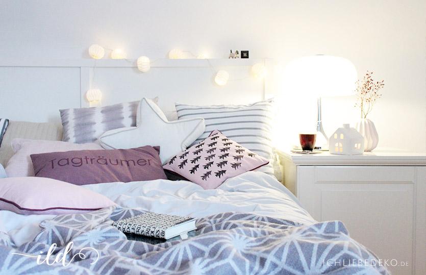 schlafzimmer im winterlook kissen mit diy tannenbaumprint ich liebe deko. Black Bedroom Furniture Sets. Home Design Ideas