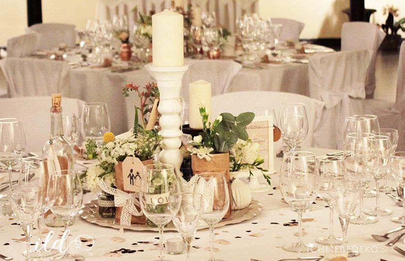 Hochzeitsdekoration im vintage stil