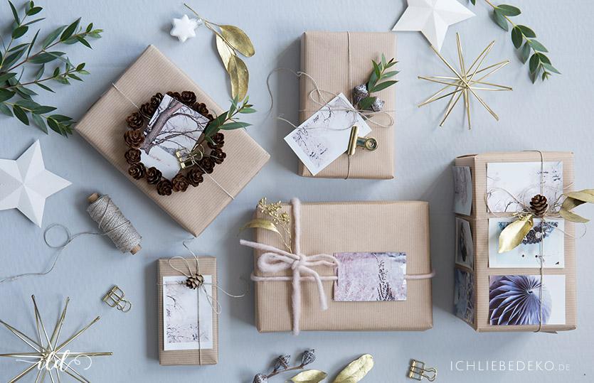 Weihanchtsgeschenkverpackung mit Fotos selbst gestalten