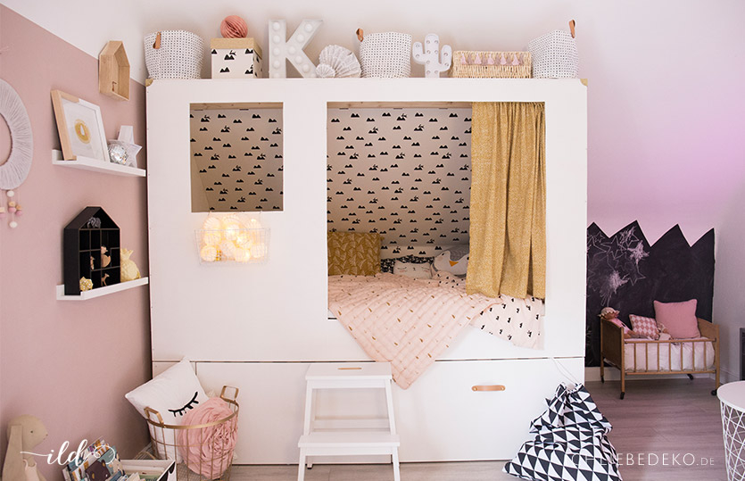Kinderbett selber bauen prinzessin trendy hochbett for Kinderbett dachschrage