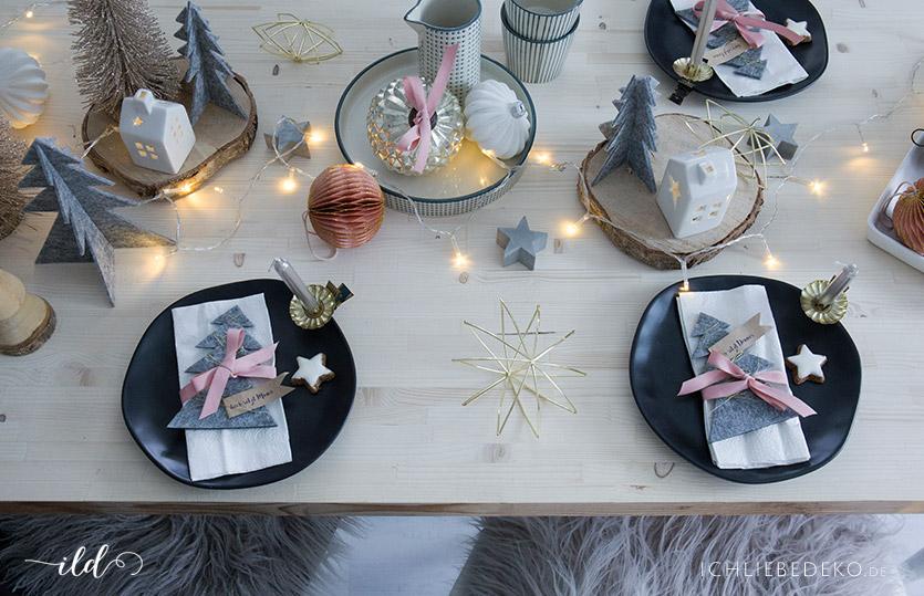 weihnachtliche tischdeko zu nikolaus in grau und rosa. Black Bedroom Furniture Sets. Home Design Ideas