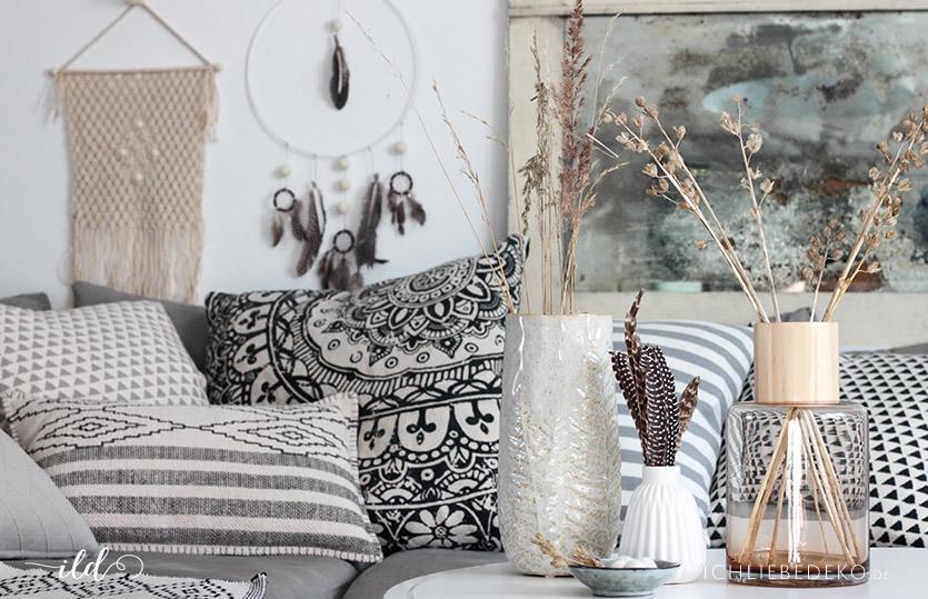 wohnzimmer deko im boho stil