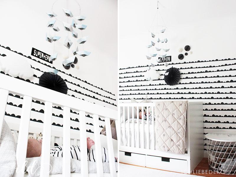 Babyobile-aus-Papierschiffchen