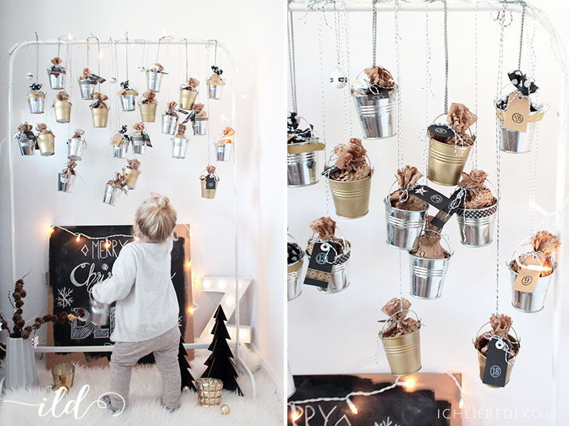 DIY Adventskalender aus Blecheimern zum Aufhängen