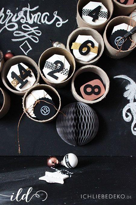 DIY Adventskalender in Schwarz und Kupfer