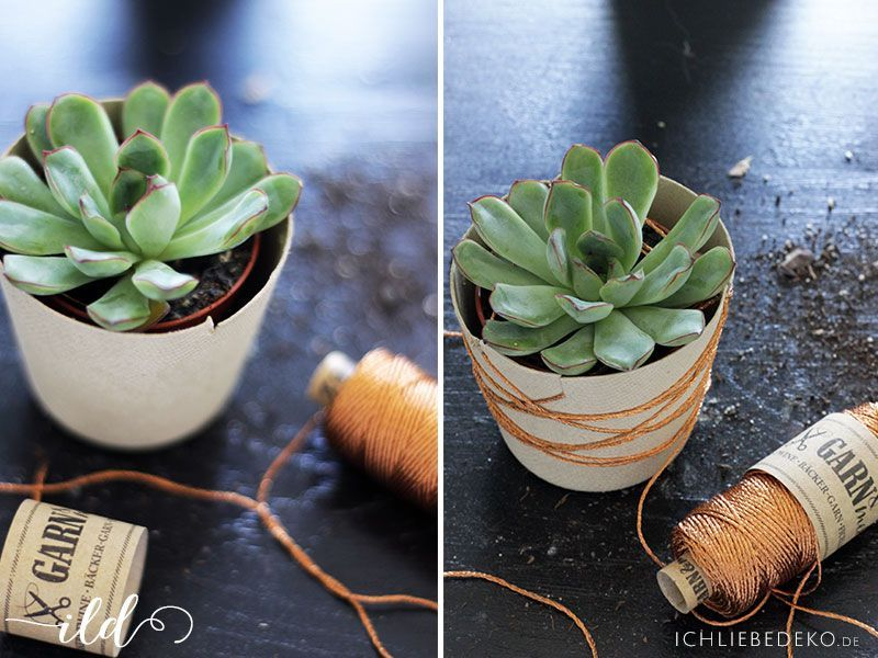 DIY-Blumentopf-mit-Kupfergarn