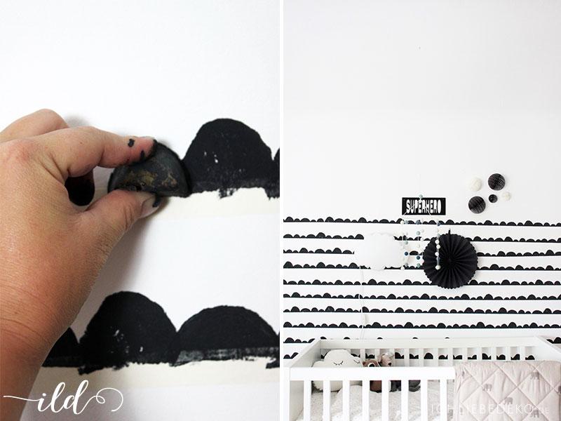 DIY Wandgestaltung im Babyzimmer mit Kartoffel-Stempel
