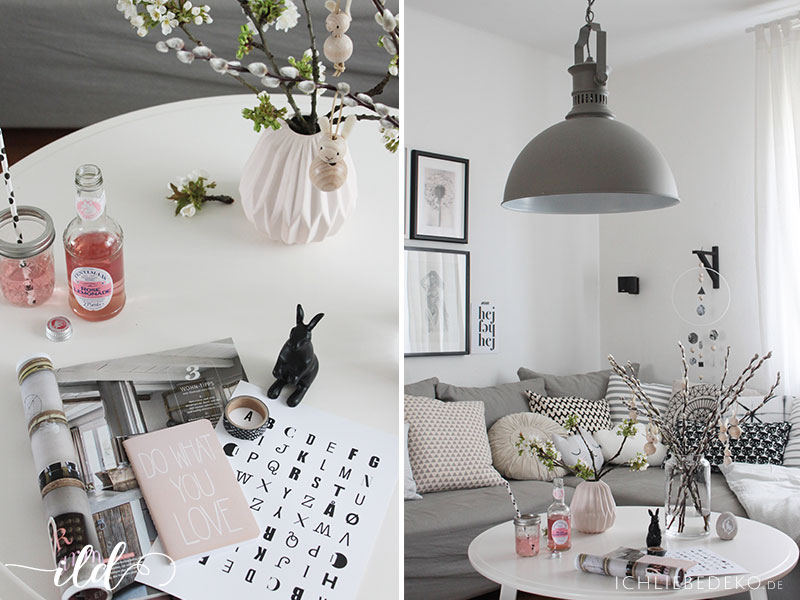 neue lampe im industrielook dezente osterdeko im. Black Bedroom Furniture Sets. Home Design Ideas