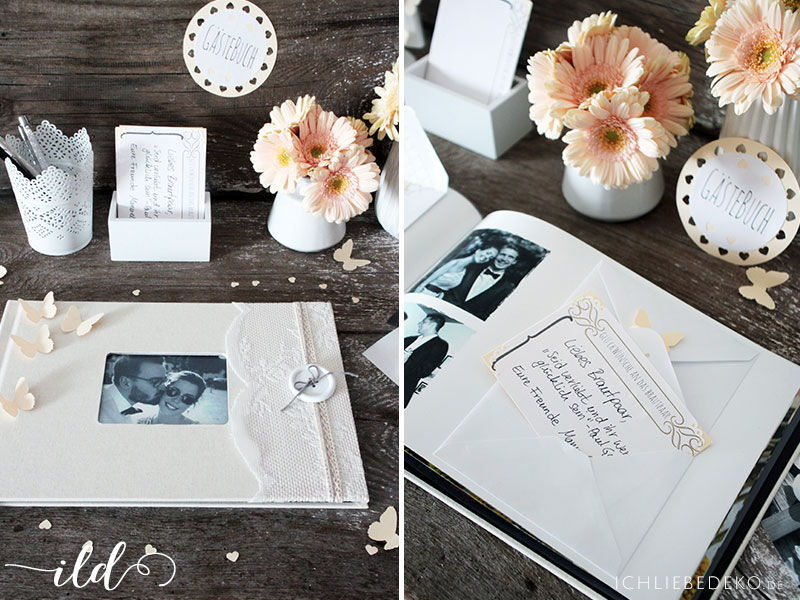 Gästebuch zur Hochzeit im Vintage-Look