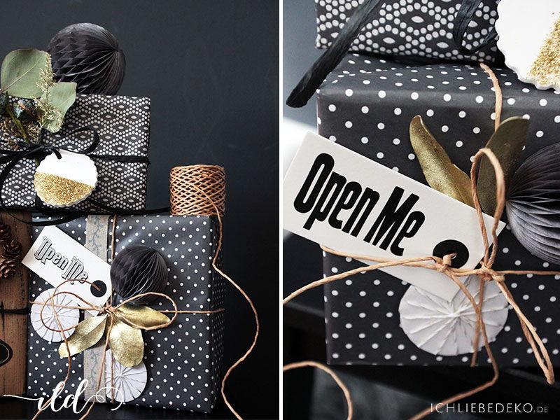 geschenkverpackung zu weihnachten diy geschenkpapier. Black Bedroom Furniture Sets. Home Design Ideas