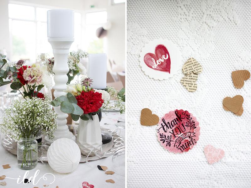 Romantische Hochzeitsdeko In Schwarz Rot Gold Ich Liebe Deko