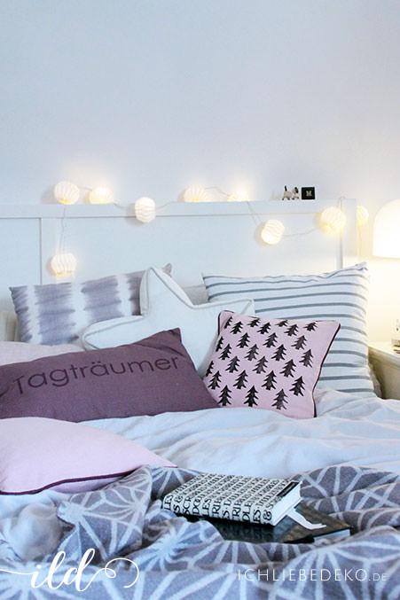 schlafzimmer im winterlook kissen mit diy. Black Bedroom Furniture Sets. Home Design Ideas