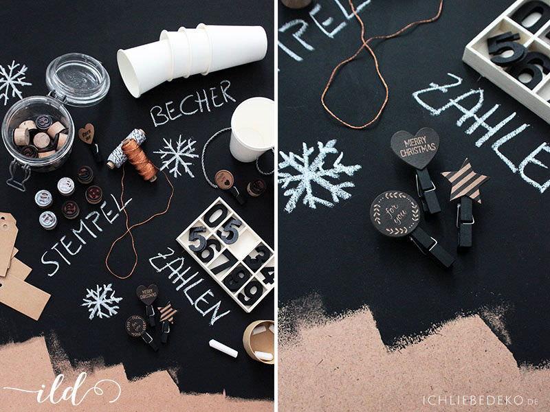 Material DIY Adventskalender aus Pappe