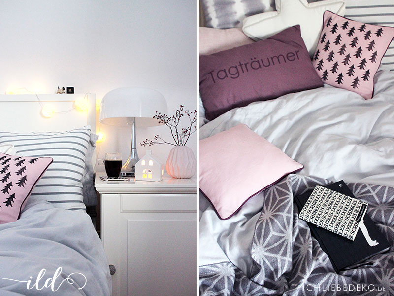 schlafzimmer im winterlook kissen mit diy tannenbaumprint ich liebe deko. Black Bedroom Furniture Sets. Home Design Ideas