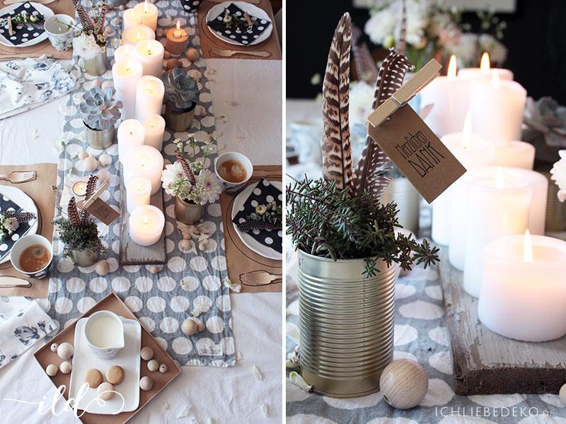 Tischdekoration-mit-Kerzen-und-Packpapier