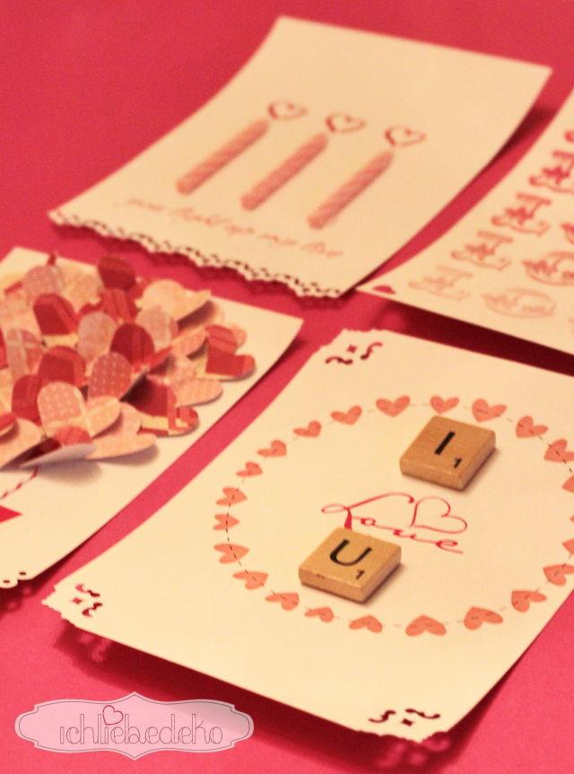 Valentinstagskarte Scrabble