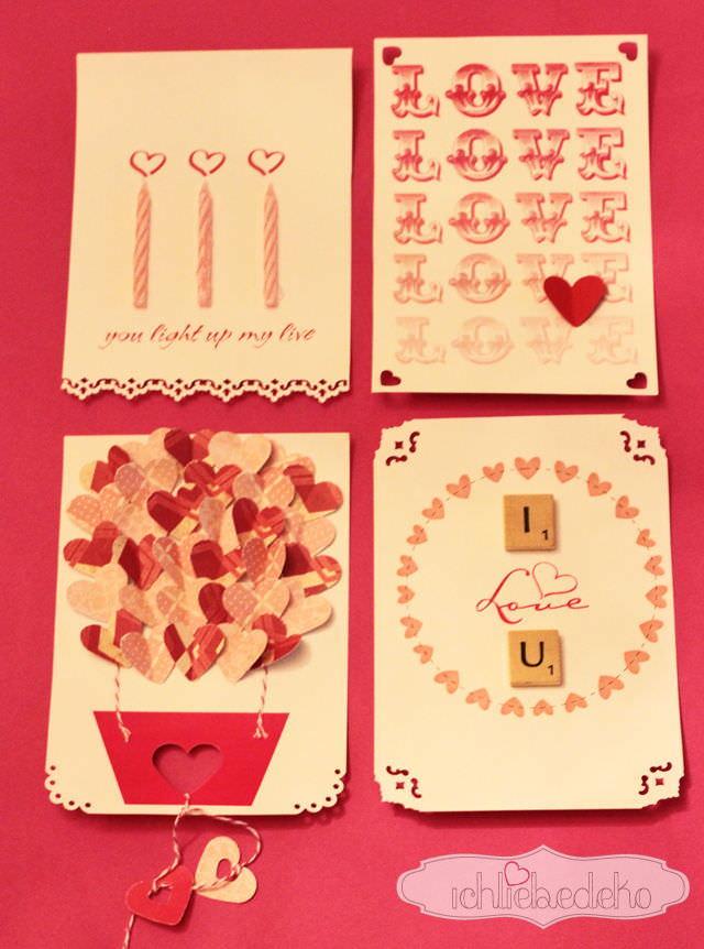 Karten zum valentinstag selber machen ich liebe deko for Muttertagsgeschenke selber basteln