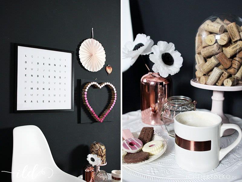 Kork-Herz als Wanddekoration zum Valentinstag