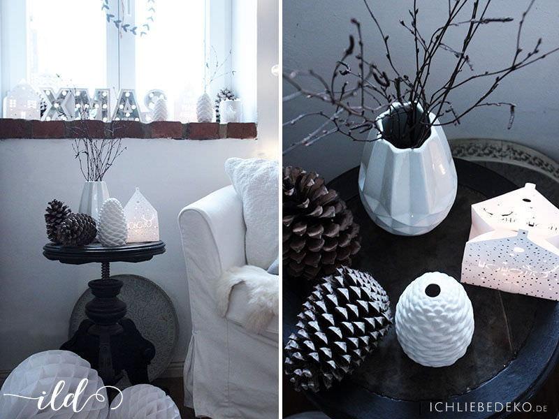 weihnachtsdekoration mit viel wei naturt nen ich. Black Bedroom Furniture Sets. Home Design Ideas