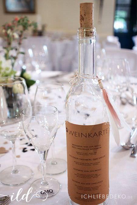 Weinkarte-Vintagehochzeit