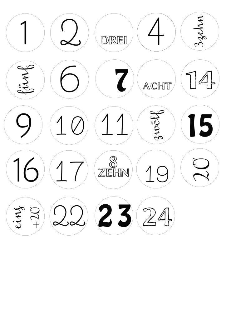 Adventskalender Nummern Vorlage zum Ausdrucken