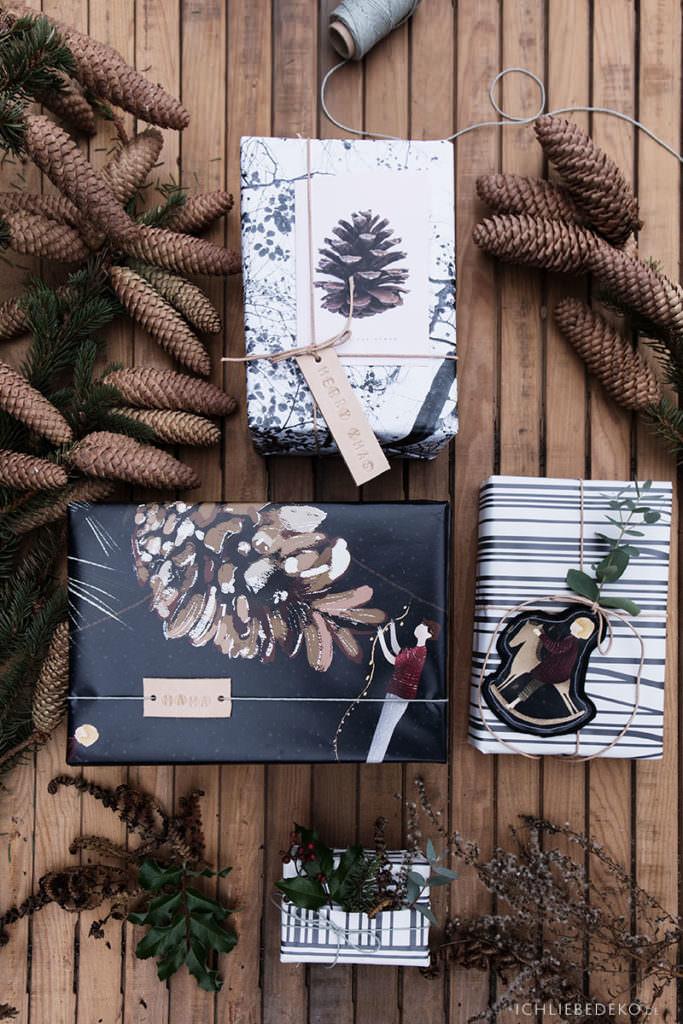 ausgefallene weihnachtsgeschenkverpackung im natuerlichen look