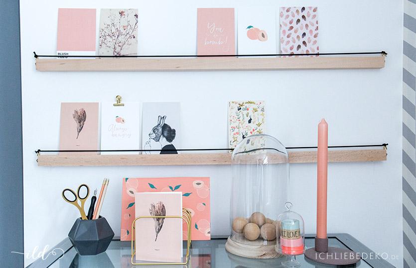 DIY Bilderleiste aus Holz für eine Postkartengalerie
