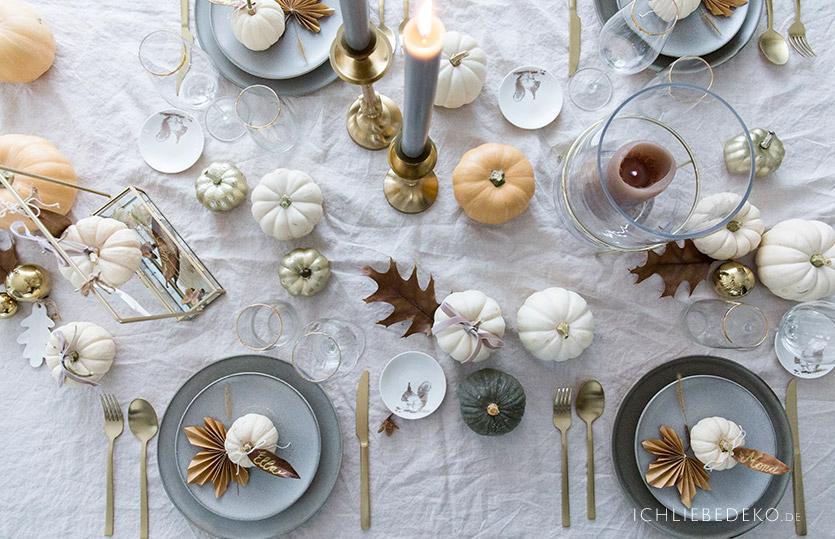 Babyboo Kürbisse, Gold und Grau für eine elegante Herbsttischdeko