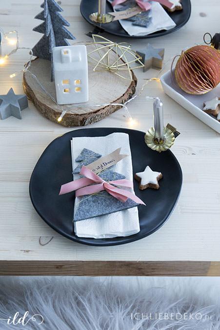 Weihnachtliche Tischdeko Zu Nikolaus In Grau Und Rosa Ich Liebe Deko