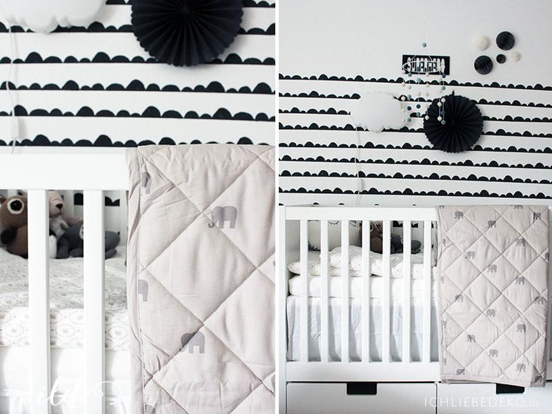 IKEA Baby Bett mit gemütlichen Textilien fürs Babyzimmer