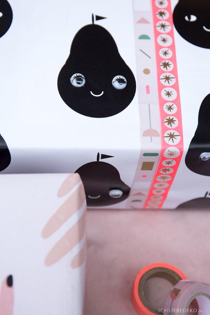 Geschenkpapier fuer Kinder mit Birnenmotiv und Kulleraugen