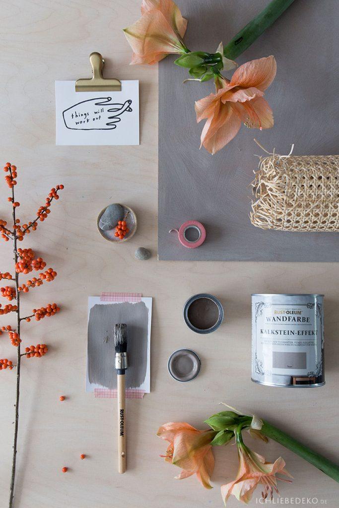 Moodboard zur Wandgestaltung mit Kalksteineffekt