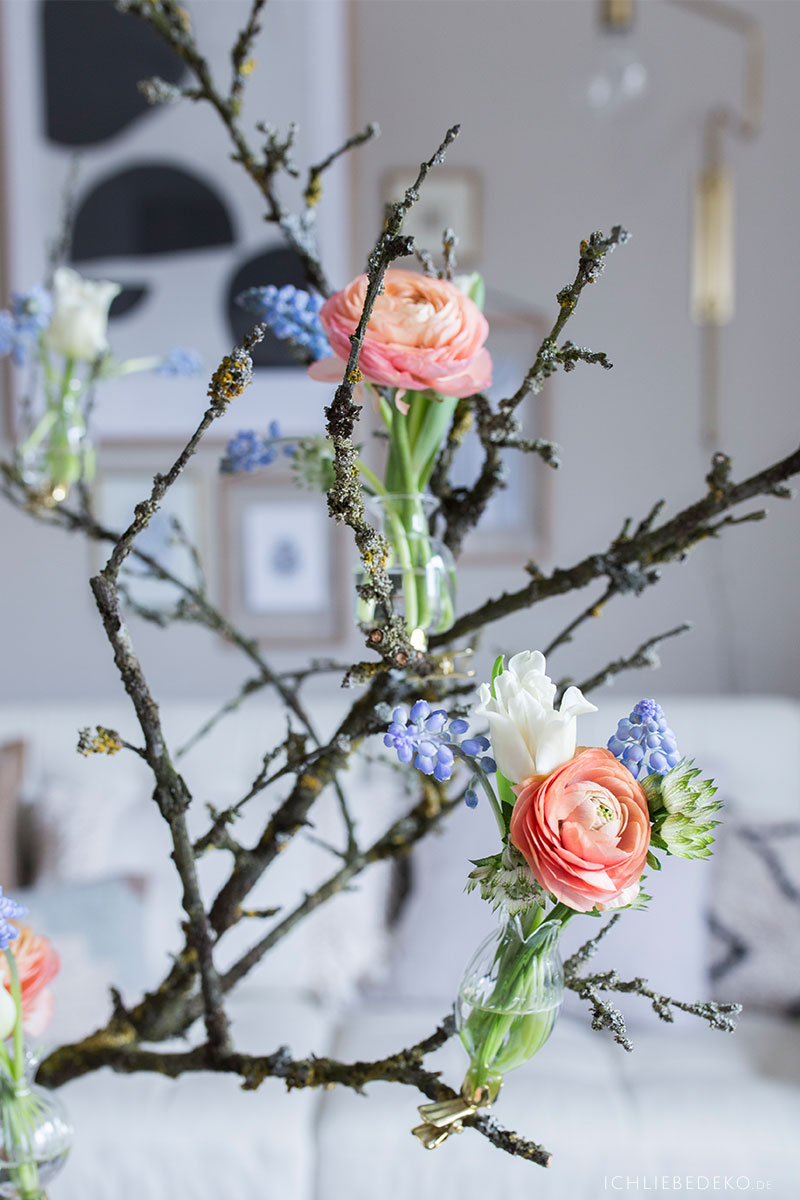 Natürliche Frühlingsdeko mit Blumen