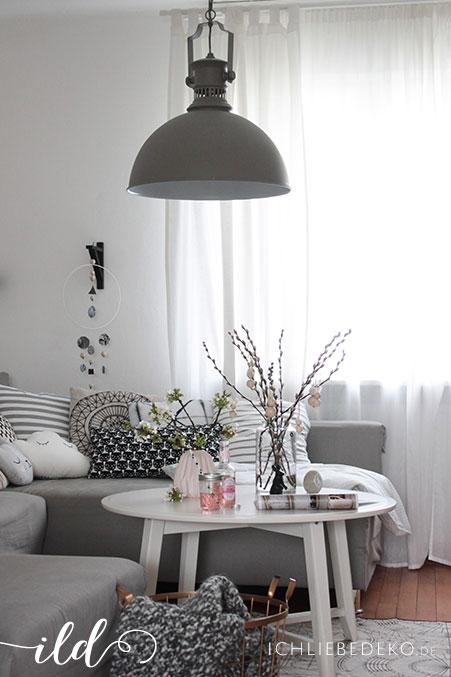 Neue Lampe im Industrielook & dezente Osterdeko im Wohnzimmer • Ich ...