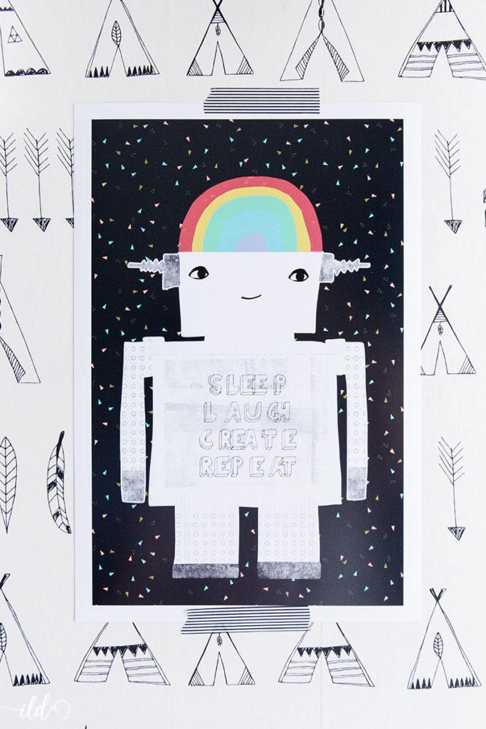 trendy-kinderzimmerposter-roboter-mit-reggenbogenhelm