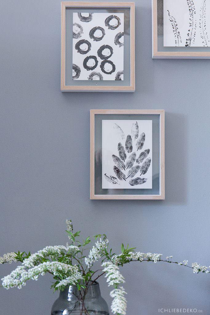 DIY Wanddekoration mit natürlichen Stempeln